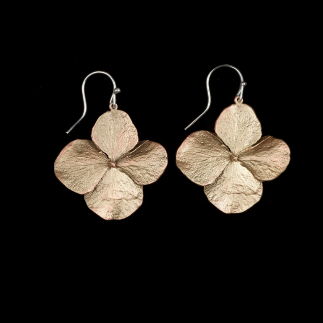 Michael Michaud Hydrangea Large Petal Wire Drop Earrings