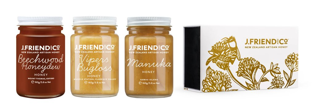 J Friend and Co Tea Pairing Honey Collection. NZ Varietal honey specialists