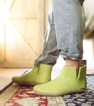 Glerups Felted Wool Leather Sole Boots in Lime