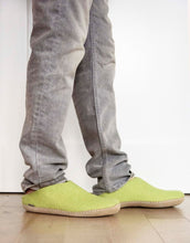 Glerups Felted Wool Leather Sole Slip On in Lime