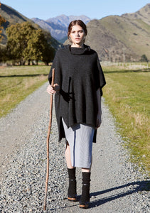 Mcdoanld Step hem possum merino Poncho in Charcoal
