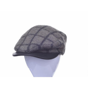 Possum Merino Checked Cheesecutter Cap with Lambskin Peak