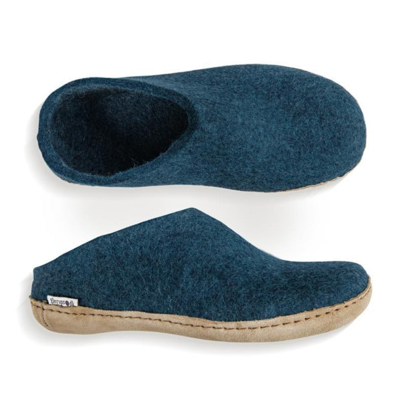 Glerups Felted Wool Slip On with Leather Sole - Petrol