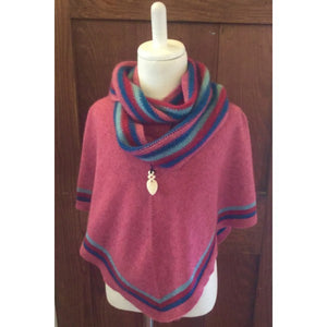 Raspberry - Nativeworld Girl's Striped Possum Merino Poncho NB711