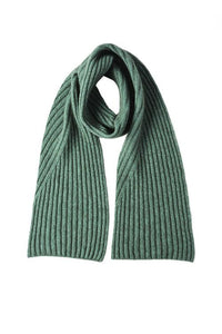 McDonald Possum Merino Diagonal Rib Scarf in Mint