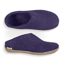 Glerups Felted Wool Slip On with Leather Sole - Purple