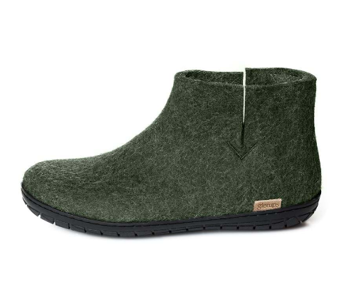 Glerups Black Rubber Sole Felted Woollen Boot Forest