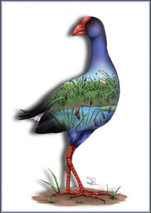 Sophie Blokker Pukeko Native NZ bird Limited edition print