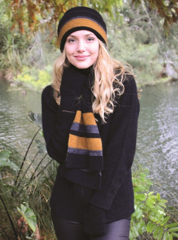 Taupo Possum merino scarf in gold by Lothlorian