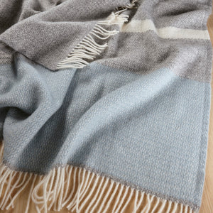Weave Kirkcaldy Lambswool Blanket in Duckegg