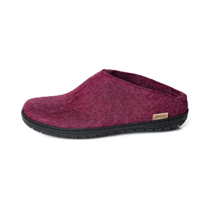 Glerups felted wool Black rubber sole Slipon in Cranberry