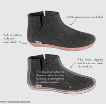 Glerups Felted Wool Boot with Leather Sole - Grey