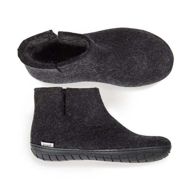 Glerups Felted Wool Boot with Rubber Sole - Charcoal