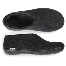 Glerups Black Rubber Sole Felted Woolen Shoe in Charcoal