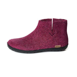 Glerups NZ Felted Wool Boot with Black Rubber Sole - Cranberry PRE ORDER