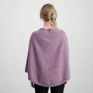 Chevron Lace Poncho in Lilac Possum merino by Mcdonald