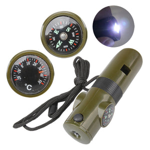 7 in 1 Multi-functional Survival Kit Magnifying Glass Whistle Compass Thermometer LED Light