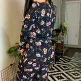 Navy Blue Floral Jumpsuit- Size Small