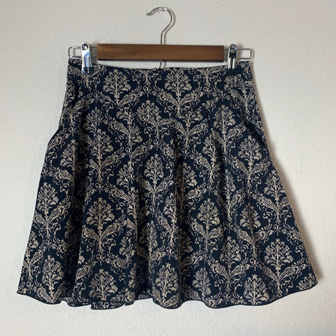 Navy Blue Patterned Mini Skirt- Size Small