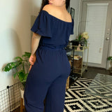 Navy Blue Off Shoulder Jumpsuit- Size Small