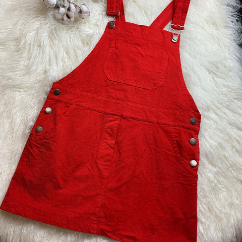 Red Overall Dress- Size Small