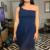 Navy Blue One Shoulder Dress- Size Small