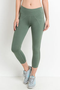 Kiwi Mesh Overlay Pocket Capri Leggings