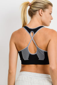 Seamless Overlay Strap Back Sports Bra