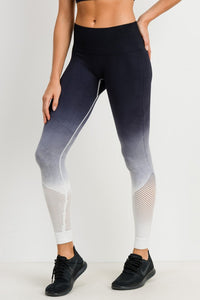 Ombre Leopard Dip-Dye Seamless Perforated Leggings - RESTOCKED