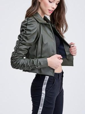 Ruched Army Green Jacket