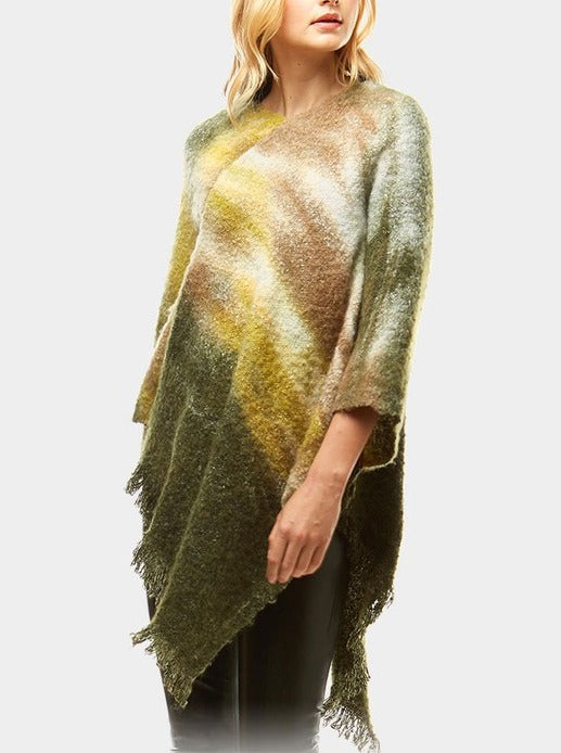 Olive Watercolor Poncho