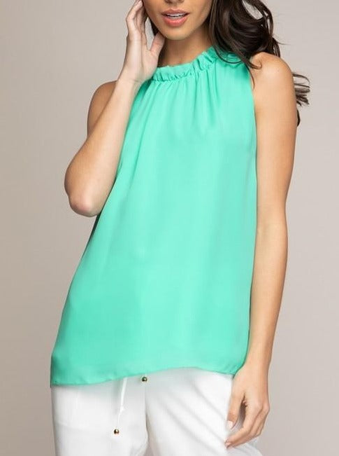 Ice Green Ruffle Neck Blouse