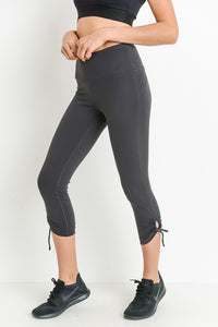 Charcoal Highwaist Tie Accent Capri Leggings