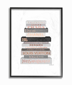 Watercolor Neutral Grey and Rose Gold Fashion Bookstack