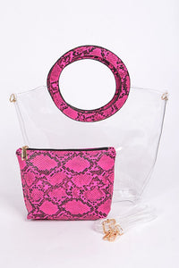 Clear Snakeskin Clutch w/Makeup Bag - Various Colors