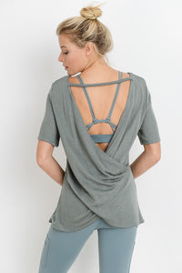Crossback Cutout Overlay Top - Green