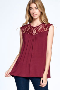 Best Basic & Lace Top - Wine