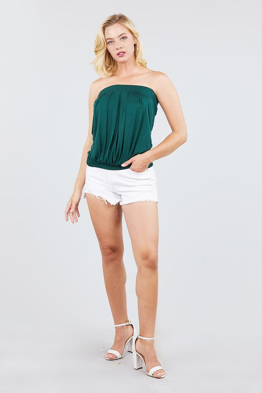 Deep Green Pleated Tube Top