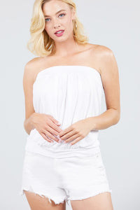 White Pleated Tube Top