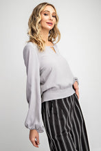 Cool Grey Tie Blouse