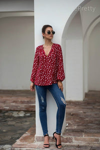 Red & White Polka Dot Blouse