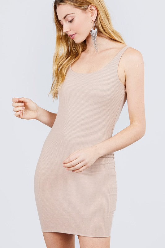 Tan Sleeveless Midi Knit Dress - Double Lined