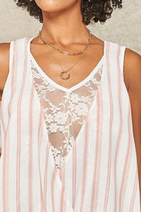 Pink Striped Lace Tank Top