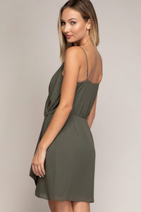 Dusty Olive Wrap Tank Dress