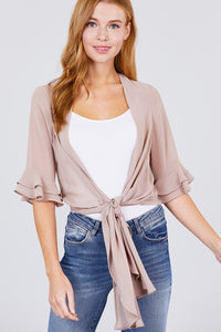 Ruffle Light Wrap - Khaki