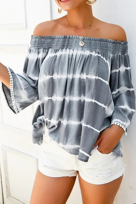 Grey Tie-Dye Off the Shoulder Top