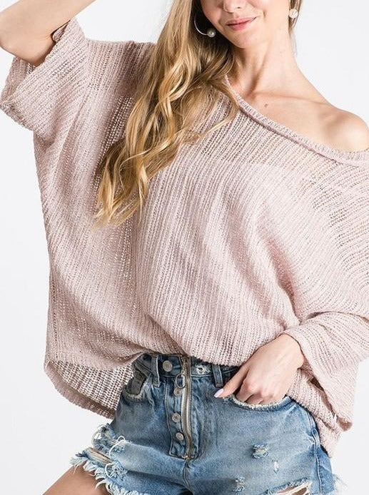 Mesh Knit Off the Shoulder Sweater - Mocha