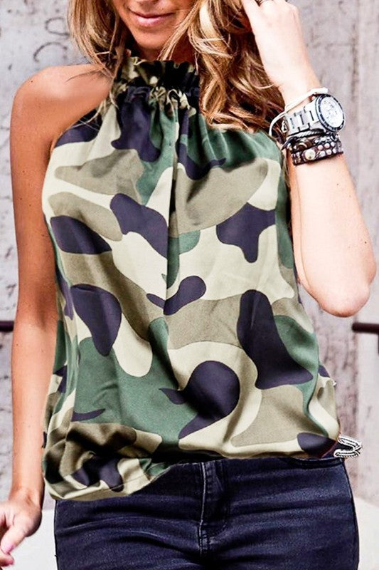 Camo Halter Neck Blouse