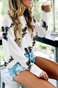 Black & White Tie-Dye Long Sleeve Top