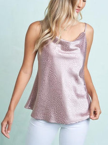 Satin Cowel Neck Top - Taupe